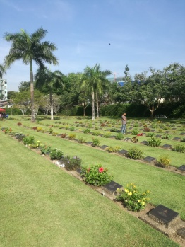 Rangoon War Cemetery: the graves of Seagrim and the seven Karen men in the foreground