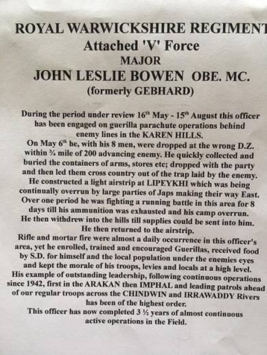 Major John Gebhard [changed name to Bowen 1947] citation for Military Cross 10-3-46